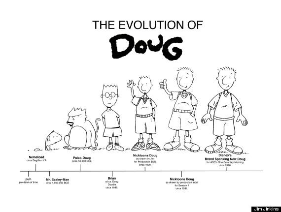 A evolução de Doug, com suas versões Nickelodeon e Disney